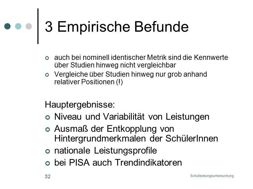 Schulleistungsuntersuchung 32 3 Empirische Befunde auch bei nominell identischer Metrik sind die Kennwerte über Studien hinweg nicht vergleichbar Vergleiche über Studien hinweg nur grob anhand relativer Positionen (!) Hauptergebnisse: Niveau und Variabilität von Leistungen Ausmaß der Entkopplung von Hintergrundmerkmalen der SchülerInnen nationale Leistungsprofile bei PISA auch Trendindikatoren