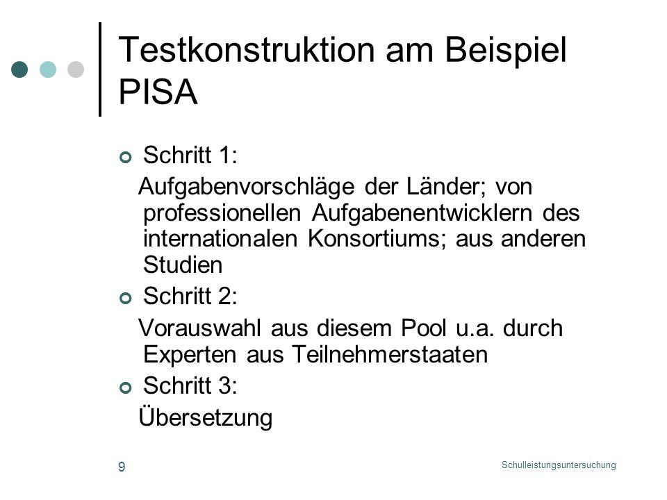 Schulleistungsuntersuchung 9 Testkonstruktion am Beispiel PISA Schritt 1: Aufgabenvorschläge der Länder; von professionellen Aufgabenentwicklern des internationalen Konsortiums; aus anderen Studien Schritt 2: Vorauswahl aus diesem Pool u.a.