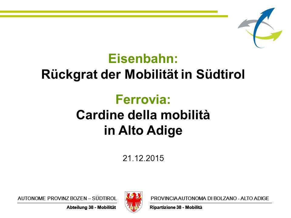 AUTONOME PROVINZ BOZEN – SÜDTIROL PROVINCIA AUTONOMA DI BOLZANO - ALTO ADIGE Abteilung 38 - Mobilität Ripartizione 38 - Mobilità AUTONOME PROVINZ BOZEN – SÜDTIROL PROVINCIA AUTONOMA DI BOLZANO - ALTO ADIGE Abteilung 38 - Mobilität Ripartizione 38 - Mobilità Eisenbahn: Rückgrat der Mobilität in Südtirol Ferrovia: Cardine della mobilità in Alto Adige 21.12.2015 AUTONOME PROVINZ BOZEN – SÜDTIROL PROVINCIA AUTONOMA DI BOLZANO - ALTO ADIGE Abteilung 38 - Mobilität Ripartizione 38 - Mobilità