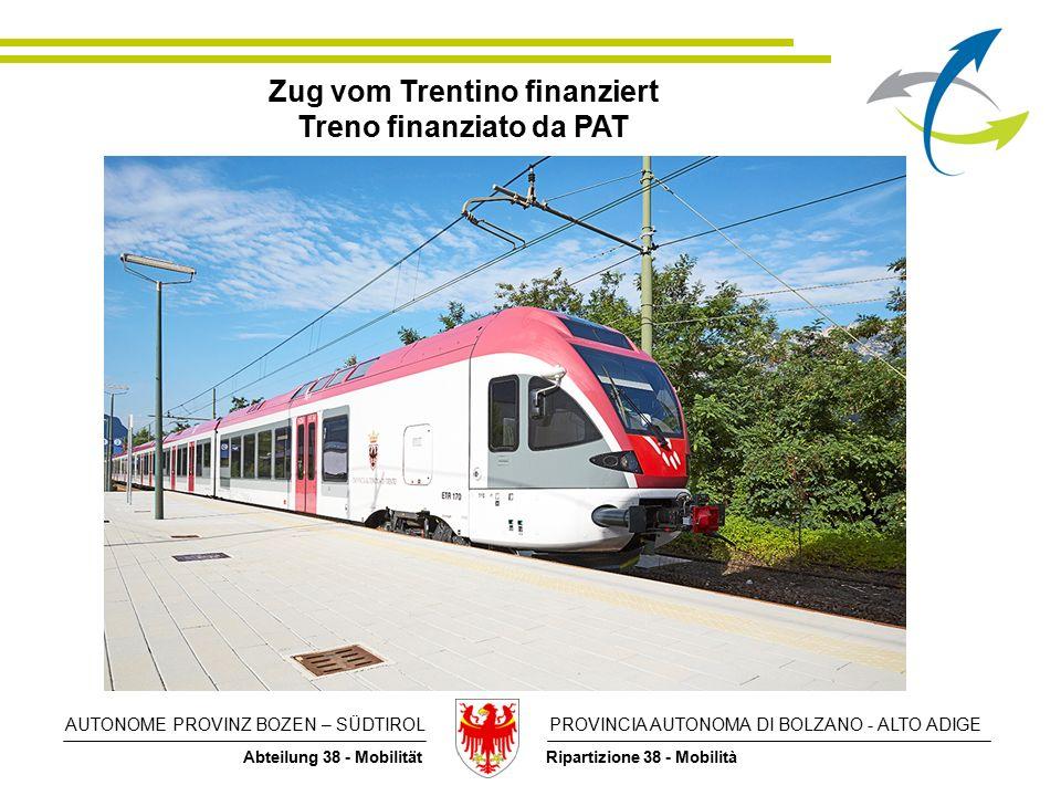 AUTONOME PROVINZ BOZEN – SÜDTIROL PROVINCIA AUTONOMA DI BOLZANO - ALTO ADIGE Abteilung 38 - Mobilität Ripartizione 38 - Mobilità Zug vom Trentino finanziert Treno finanziato da PAT