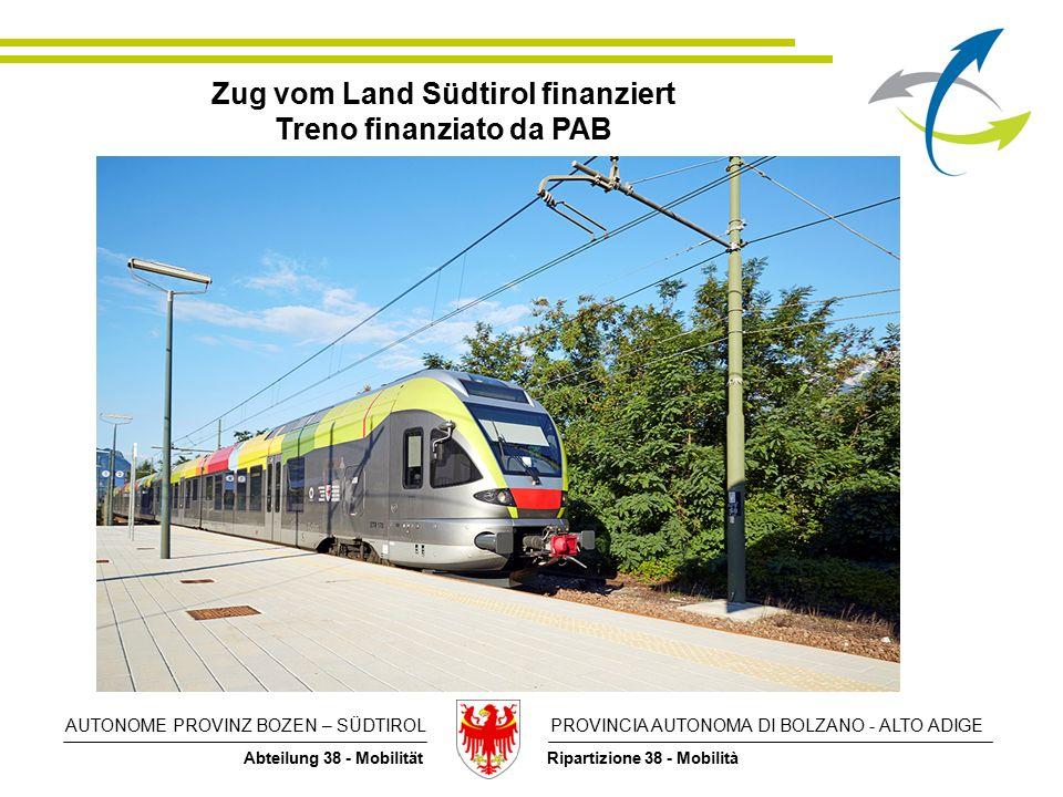 AUTONOME PROVINZ BOZEN – SÜDTIROL PROVINCIA AUTONOMA DI BOLZANO - ALTO ADIGE Abteilung 38 - Mobilität Ripartizione 38 - Mobilità Zug vom Land Südtirol finanziert Treno finanziato da PAB