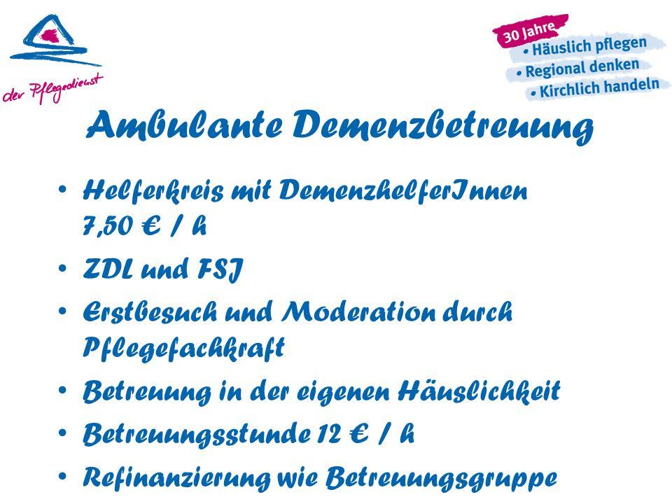 Ambulante Demenzbetreuung Helferkreis mit DemenzhelferInnen 7,50 € / h ZDL und FSJ Erstbesuch und Moderation durch Pflegefachkraft Betreuung in der ei
