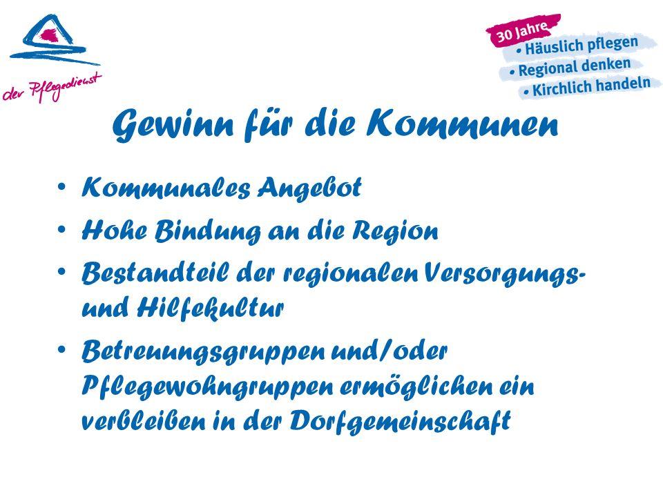 Gewinn für die Kommunen Kommunales Angebot Hohe Bindung an die Region Bestandteil der regionalen Versorgungs- und Hilfekultur Betreuungsgruppen und/od