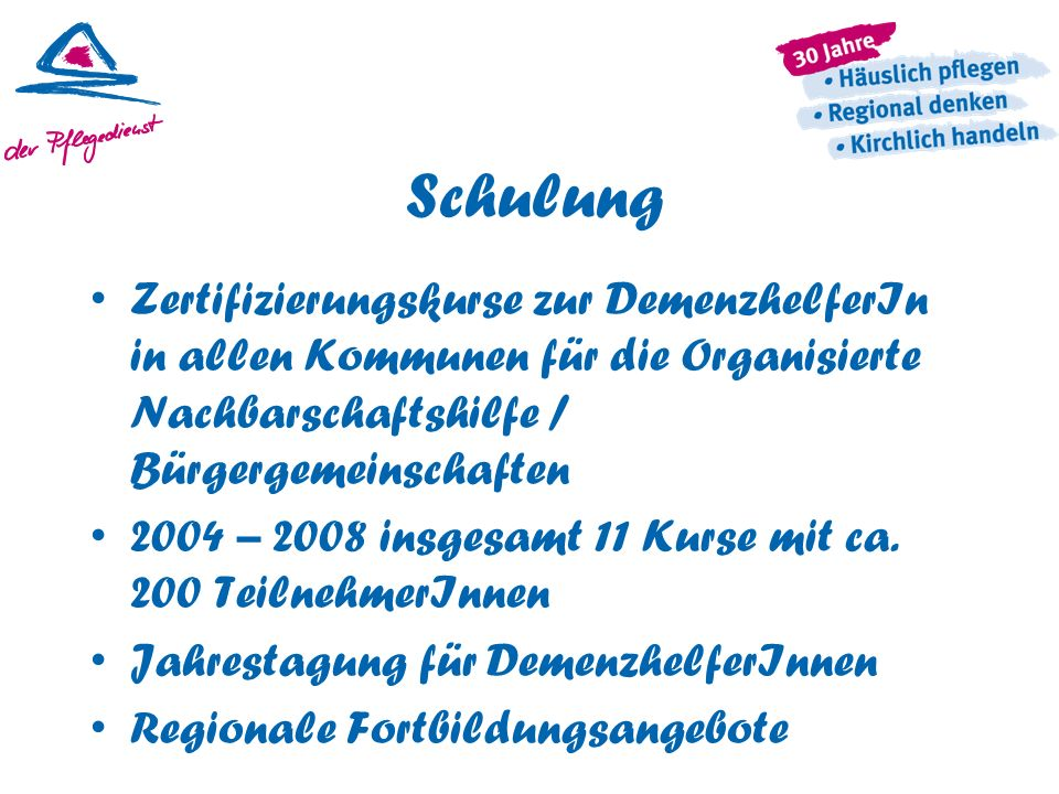 Schulung Zertifizierungskurse zur DemenzhelferIn in allen Kommunen für die Organisierte Nachbarschaftshilfe / Bürgergemeinschaften 2004 – 2008 insgesa