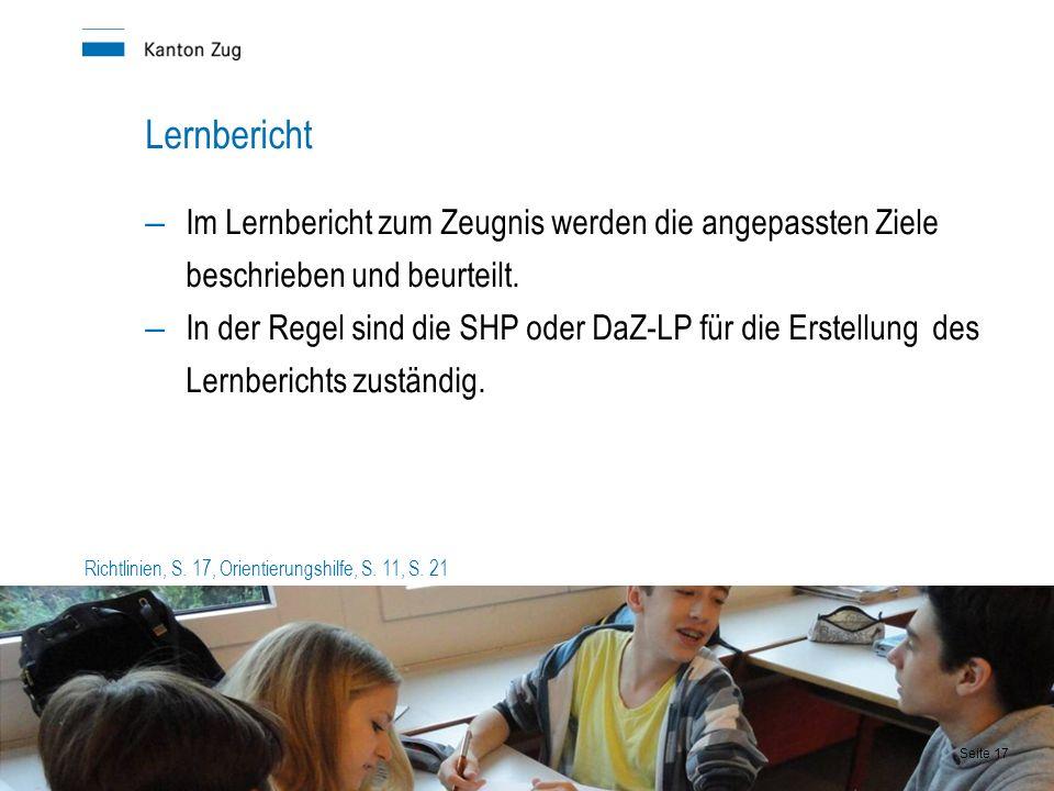Lernbericht – Im Lernbericht zum Zeugnis werden die angepassten Ziele beschrieben und beurteilt.