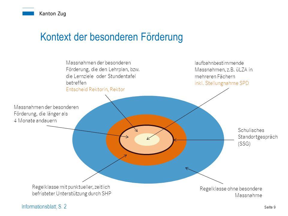 Kontext der besonderen Förderung Schulisches Standortgespräch (SSG) laufbahnbestimmende Massnahmen, z.B.