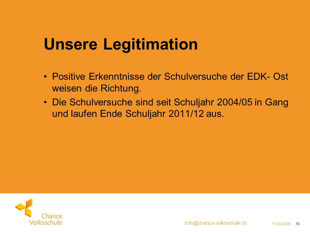 info@chance-volksschule.ch 17.09.200910 Unsere Legitimation Positive Erkenntnisse der Schulversuche der EDK- Ost weisen die Richtung.