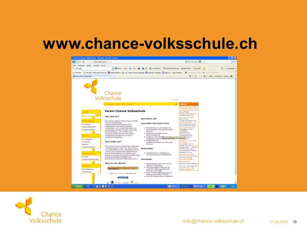 info@chance-volksschule.ch 17.09.200918 www.chance-volksschule.ch