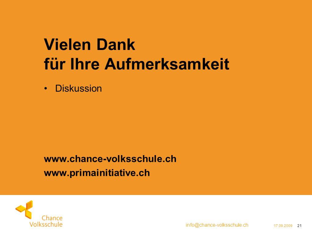 info@chance-volksschule.ch 17.09.200921 Vielen Dank für Ihre Aufmerksamkeit Diskussion www.chance-volksschule.ch www.primainitiative.ch