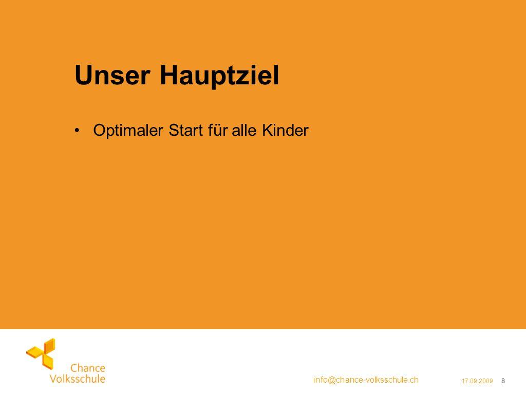 info@chance-volksschule.ch 17.09.20098 Unser Hauptziel Optimaler Start für alle Kinder