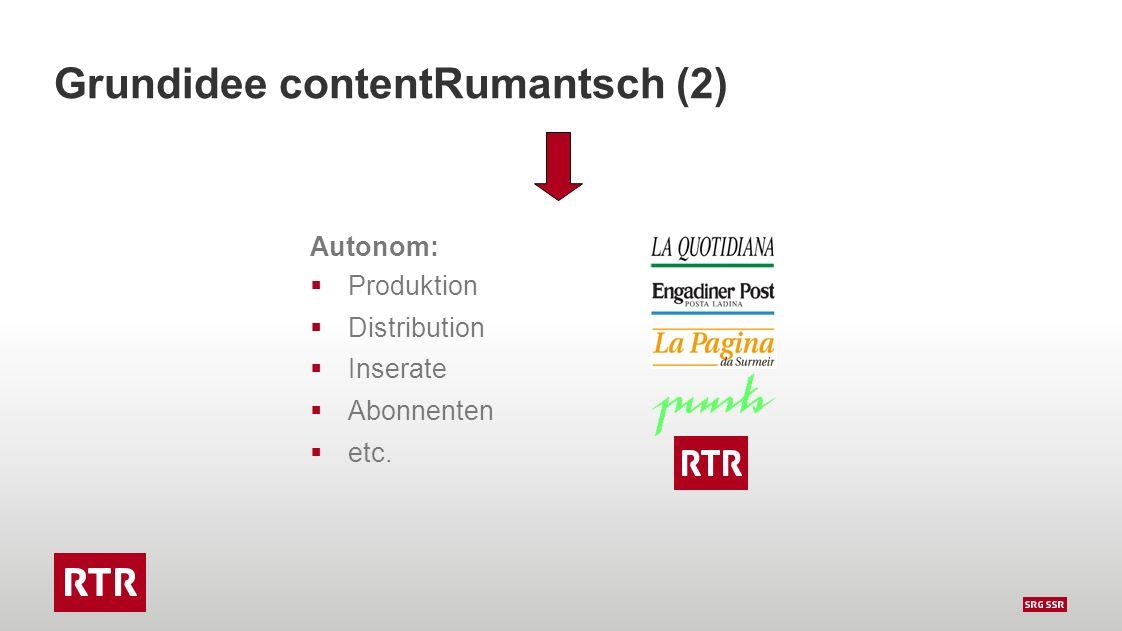 Grundidee contentRumantsch (2) Autonom:  Produktion  Distribution  Inserate  Abonnenten  etc.