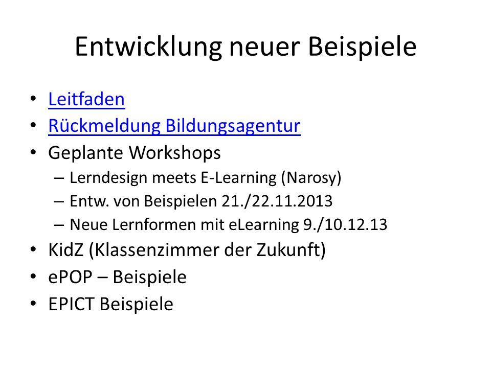 Entwicklung neuer Beispiele Leitfaden Rückmeldung Bildungsagentur Geplante Workshops – Lerndesign meets E-Learning (Narosy) – Entw.