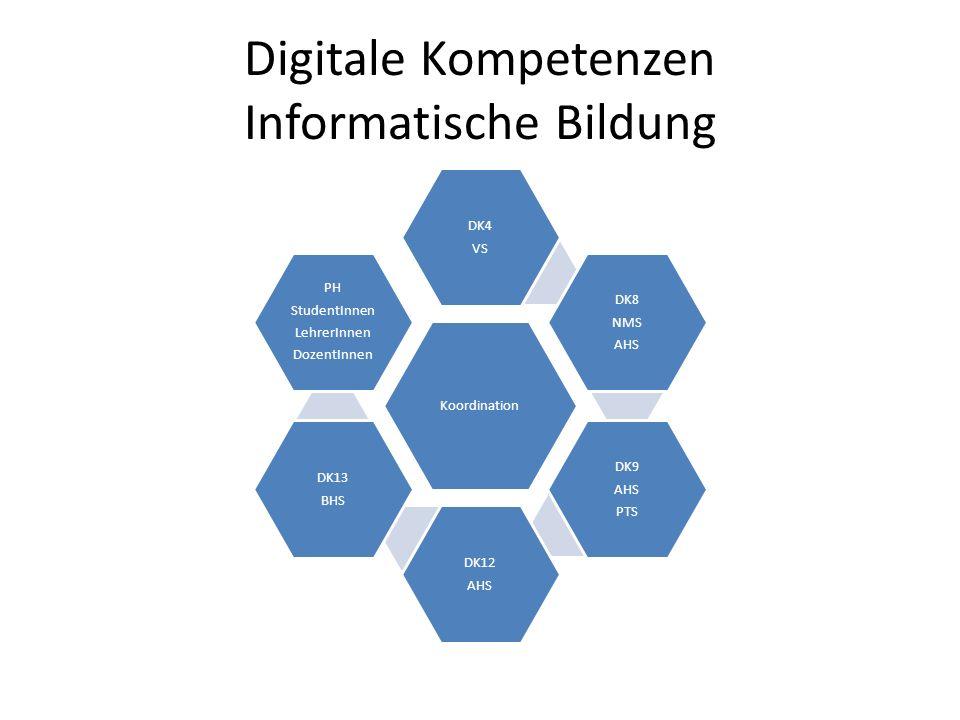 Digitale Kompetenzen Informatische Bildung Koordination DK4 VS DK8 NMS AHS DK9 AHS PTS DK12 AHS DK13 BHS PH StudentInnen LehrerInnen DozentInnen