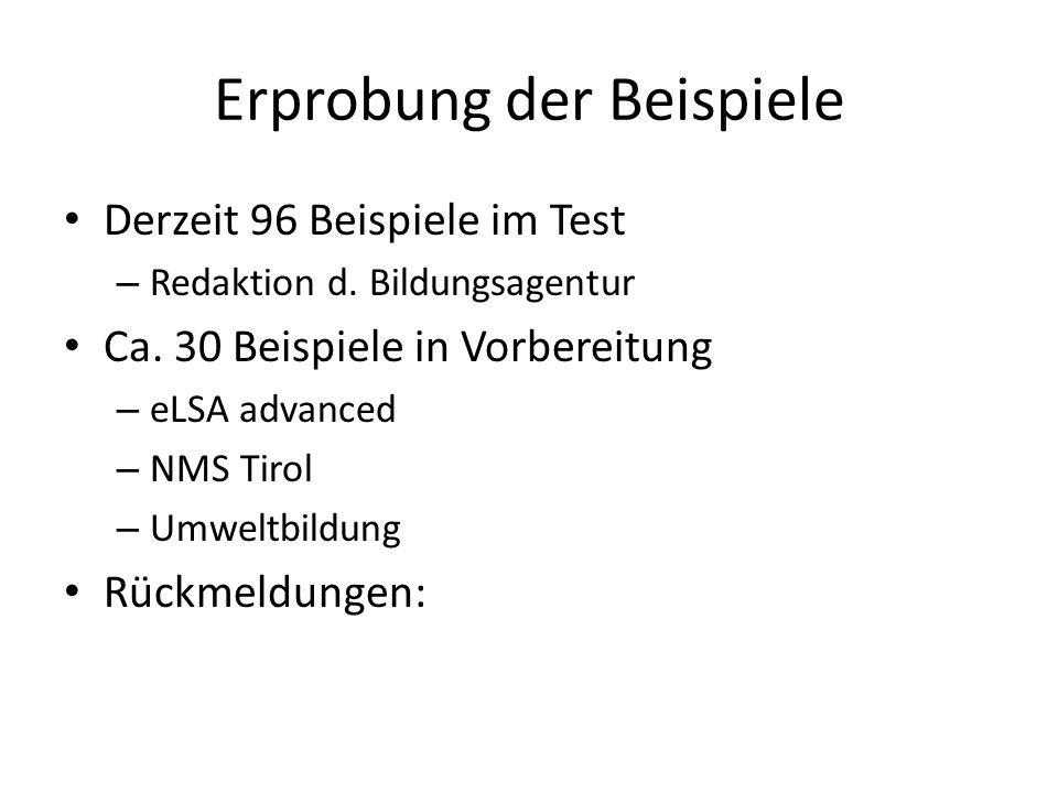 Erprobung der Beispiele Derzeit 96 Beispiele im Test – Redaktion d. Bildungsagentur Ca. 30 Beispiele in Vorbereitung – eLSA advanced – NMS Tirol – Umw
