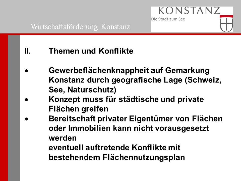 Wirtschaftsförderung Konstanz II.Themen und Konflikte  Gewerbeflächenknappheit auf Gemarkung Konstanz durch geografische Lage (Schweiz, See, Naturschutz)  Konzept muss für städtische und private Flächen greifen  Bereitschaft privater Eigentümer von Flächen oder Immobilien kann nicht vorausgesetzt werden eventuell auftretende Konflikte mit bestehendem Flächennutzungsplan