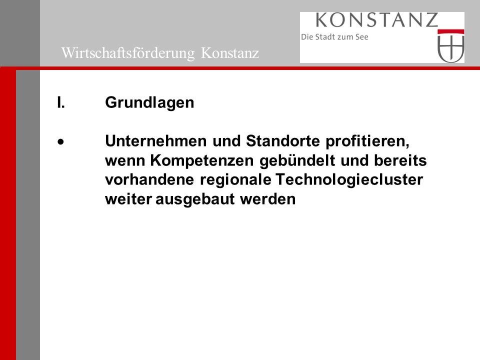 I. Grundlagen  Unternehmen und Standorte profitieren, wenn Kompetenzen gebündelt und bereits vorhandene regionale Technologiecluster weiter ausgebaut
