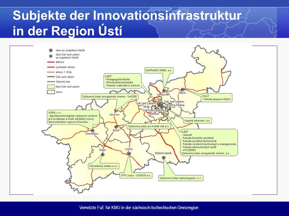 Vernetzte FuE für KMU in der sächsisch-tschechischen Grenzregion Subjekte der Innovationsinfrastruktur in der Region Ústí