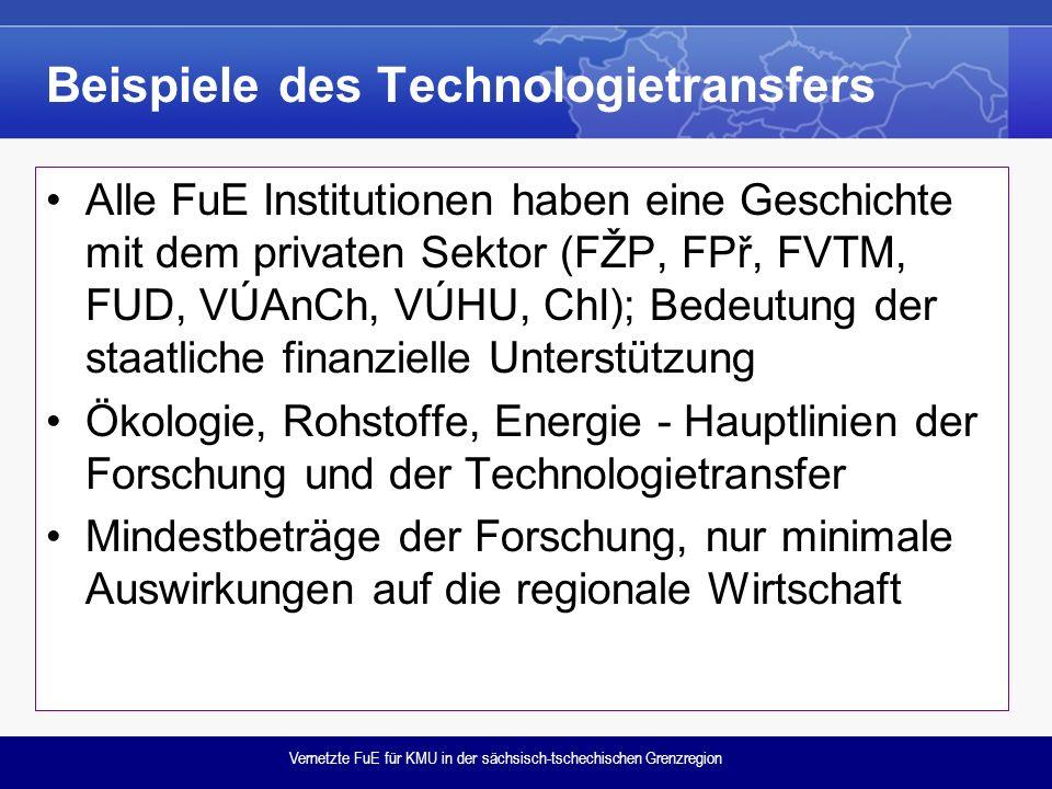 Vernetzte FuE für KMU in der sächsisch-tschechischen Grenzregion Beispiele des Technologietransfers Alle FuE Institutionen haben eine Geschichte mit dem privaten Sektor (FŽP, FPř, FVTM, FUD, VÚAnCh, VÚHU, ChI); Bedeutung der staatliche finanzielle Unterstützung Ökologie, Rohstoffe, Energie - Hauptlinien der Forschung und der Technologietransfer Mindestbeträge der Forschung, nur minimale Auswirkungen auf die regionale Wirtschaft