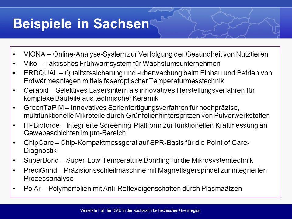 Vernetzte FuE für KMU in der sächsisch-tschechischen Grenzregion Beispiele in Sachsen VIONA – Online-Analyse-System zur Verfolgung der Gesundheit von