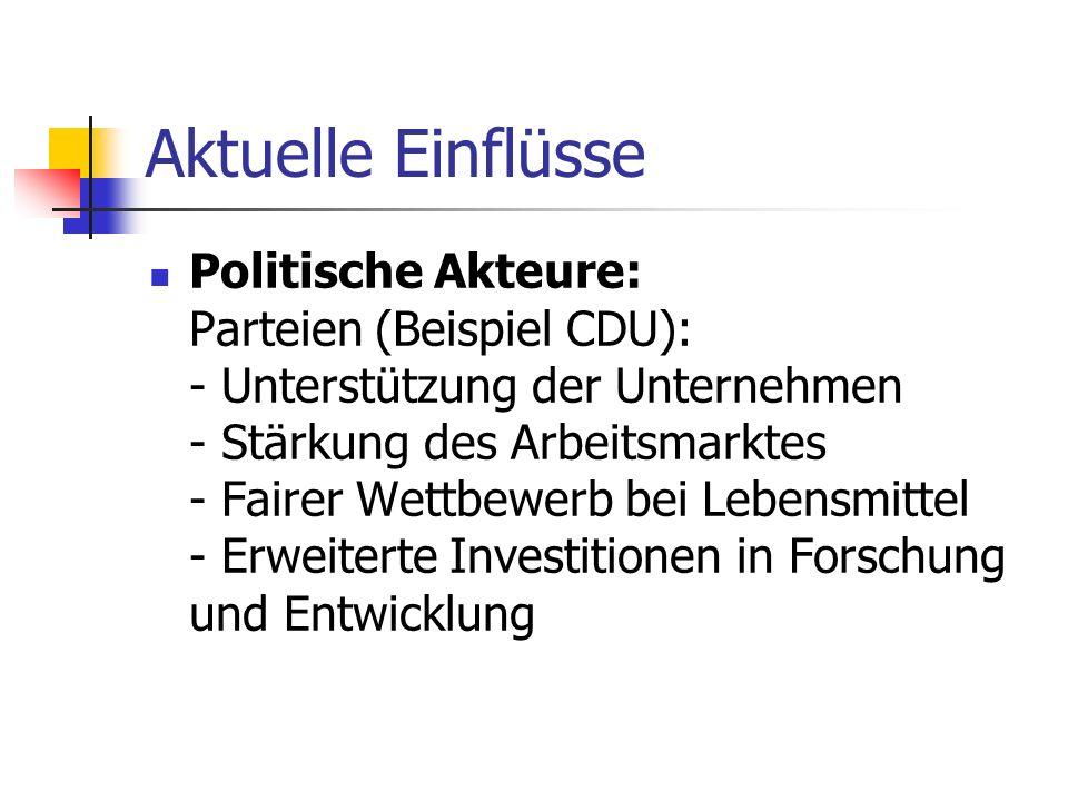 Aktuelle Einflüsse Politische Akteure: Parteien (Beispiel CDU): - Unterstützung der Unternehmen - Stärkung des Arbeitsmarktes - Fairer Wettbewerb bei