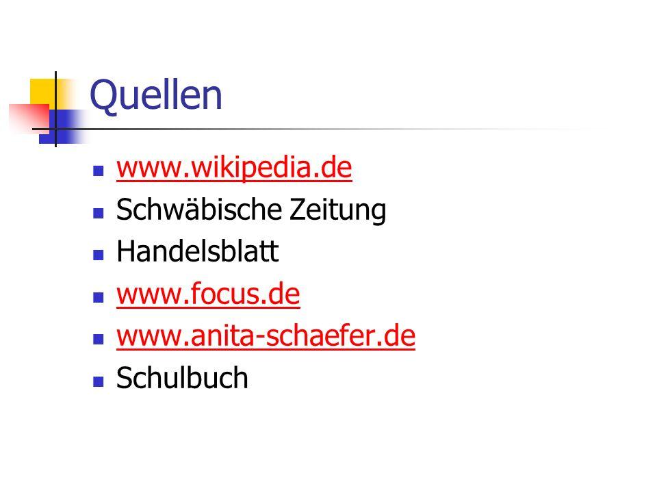 Quellen www.wikipedia.de Schwäbische Zeitung Handelsblatt www.focus.de www.anita-schaefer.de Schulbuch