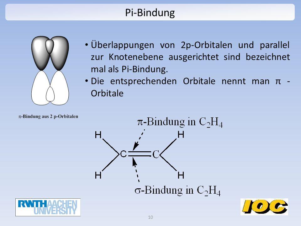 Pi-Bindung Überlappungen von 2p-Orbitalen und parallel zur Knotenebene ausgerichtet sind bezeichnet mal als Pi-Bindung.