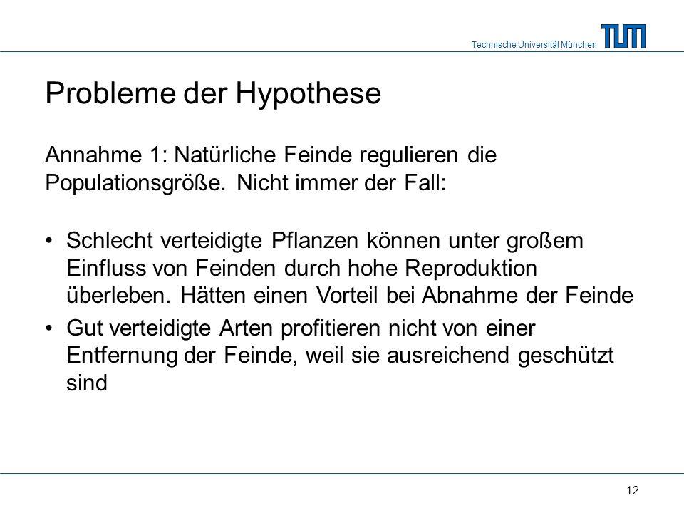 Technische Universität München 12 Probleme der Hypothese Annahme 1: Natürliche Feinde regulieren die Populationsgröße.