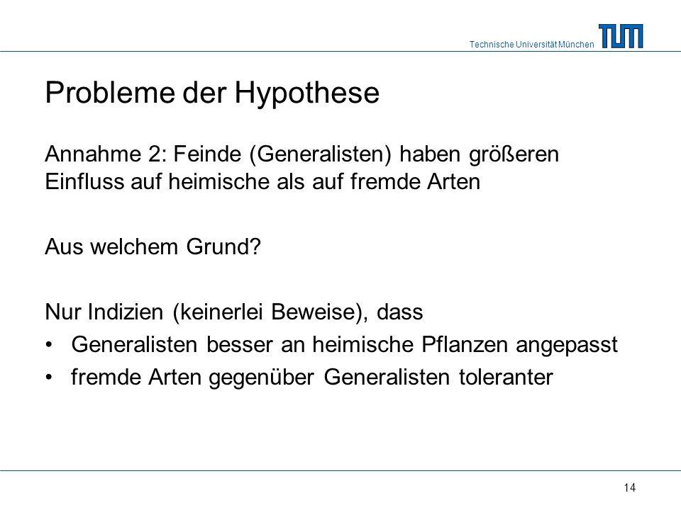 Technische Universität München 14 Probleme der Hypothese Annahme 2: Feinde (Generalisten) haben größeren Einfluss auf heimische als auf fremde Arten Aus welchem Grund.