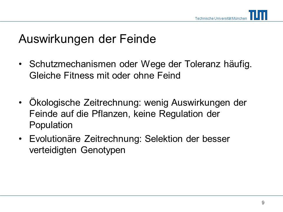 Technische Universität München 9 Auswirkungen der Feinde Schutzmechanismen oder Wege der Toleranz häufig.