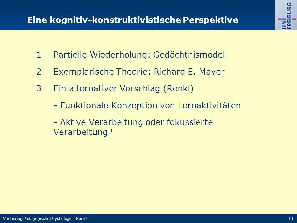 Vorlesung Pädagogische Psychologie - Renkl 11 Eine kognitiv-konstruktivistische Perspektive 1Partielle Wiederholung: Gedächtnismodell 2Exemplarische Theorie: Richard E.