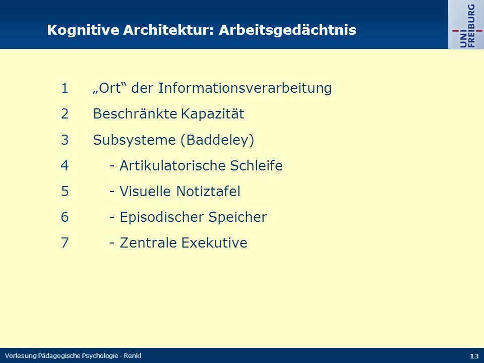 """Vorlesung Pädagogische Psychologie - Renkl 13 Kognitive Architektur: Arbeitsgedächtnis 1""""Ort der Informationsverarbeitung 2Beschränkte Kapazität 3Subsysteme (Baddeley) 4- Artikulatorische Schleife 5- Visuelle Notiztafel 6- Episodischer Speicher 7- Zentrale Exekutive"""