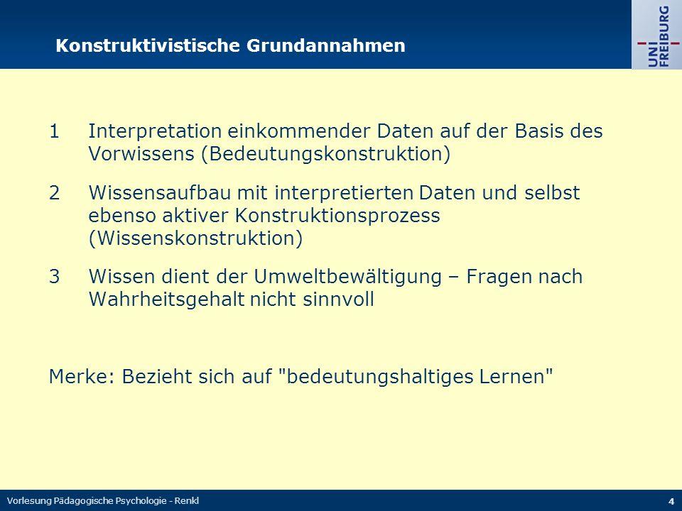 Vorlesung Pädagogische Psychologie - Renkl 5 Eine unsinnige Argumentation 1 Lernen als aktiver, konstruktiver Prozess 2 Bei typischen traditionellen Lehrmethoden (z.B.