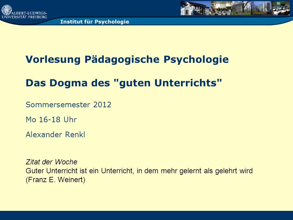Vorlesung Pädagogische Psychologie Das Dogma des