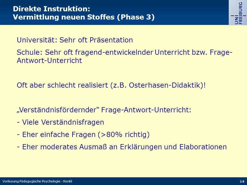 Vorlesung Pädagogische Psychologie - Renkl 14 Direkte Instruktion: Vermittlung neuen Stoffes (Phase 3) Universität: Sehr oft Präsentation Schule: Sehr