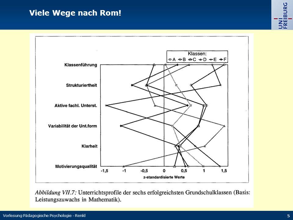 Vorlesung Pädagogische Psychologie - Renkl 5 Viele Wege nach Rom!