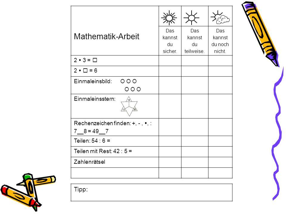 Einmaleinsstern: Mathematik-Arbeit Das kannst du sicher.