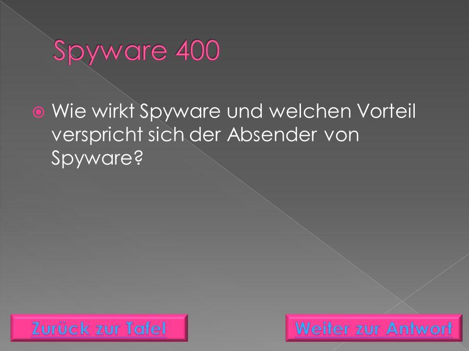  Wie wirkt Spyware und welchen Vorteil verspricht sich der Absender von Spyware