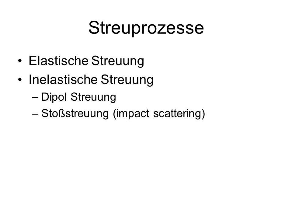 Streuprozesse Elastische Streuung Inelastische Streuung –Dipol Streuung –Stoßstreuung (impact scattering)