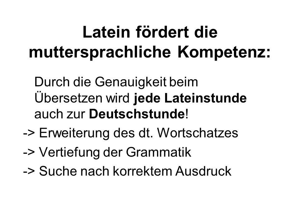 Latein fördert die muttersprachliche Kompetenz: Durch die Genauigkeit beim Übersetzen wird jede Lateinstunde auch zur Deutschstunde.
