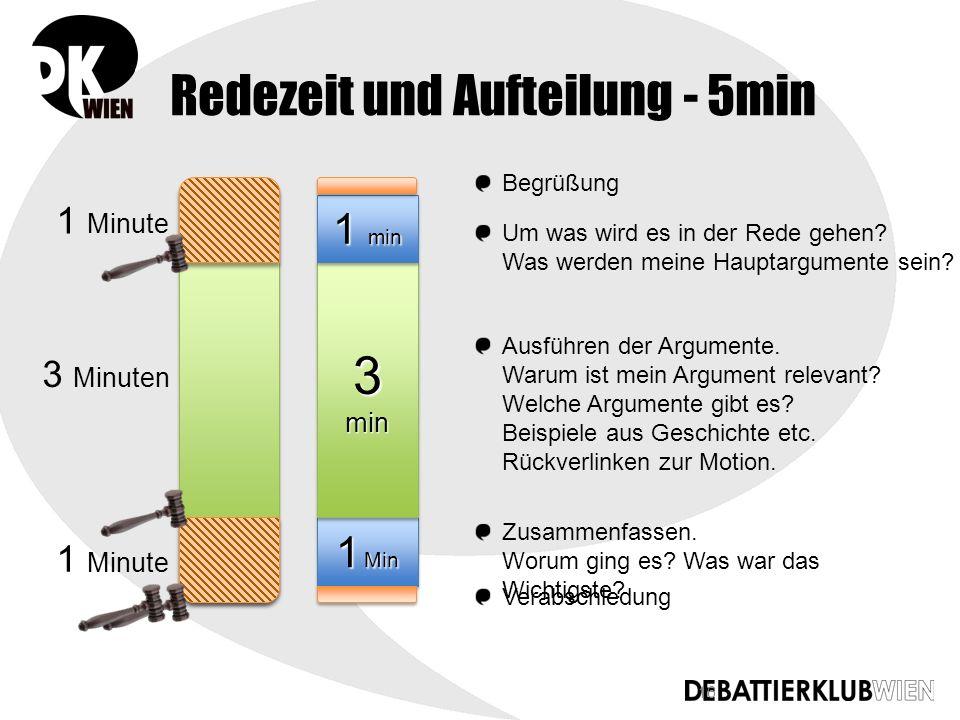 16 Redezeit und Aufteilung - 5min 1 Minute 3 Minuten 1 Min 3 min 1 min Begrüßung Um was wird es in der Rede gehen.