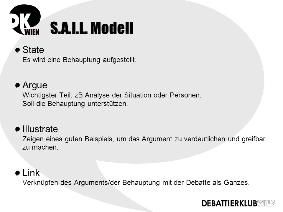 18 S.A.I.L. Modell State Es wird eine Behauptung aufgestellt.