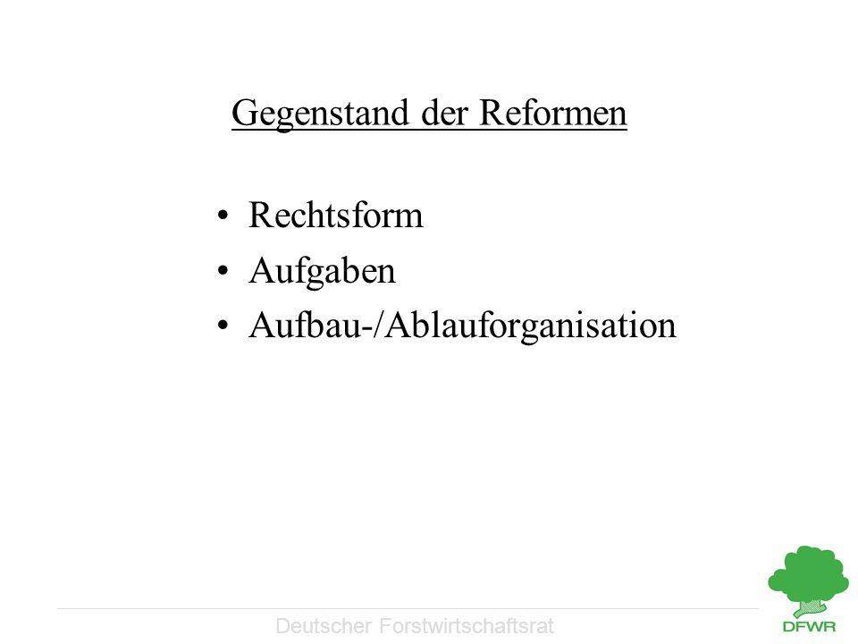 Deutscher Forstwirtschaftsrat Gegenstand der Reformen Rechtsform Aufgaben Aufbau-/Ablauforganisation
