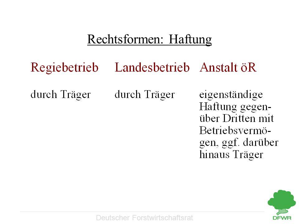 Deutscher Forstwirtschaftsrat Rechtsformen: Haftung
