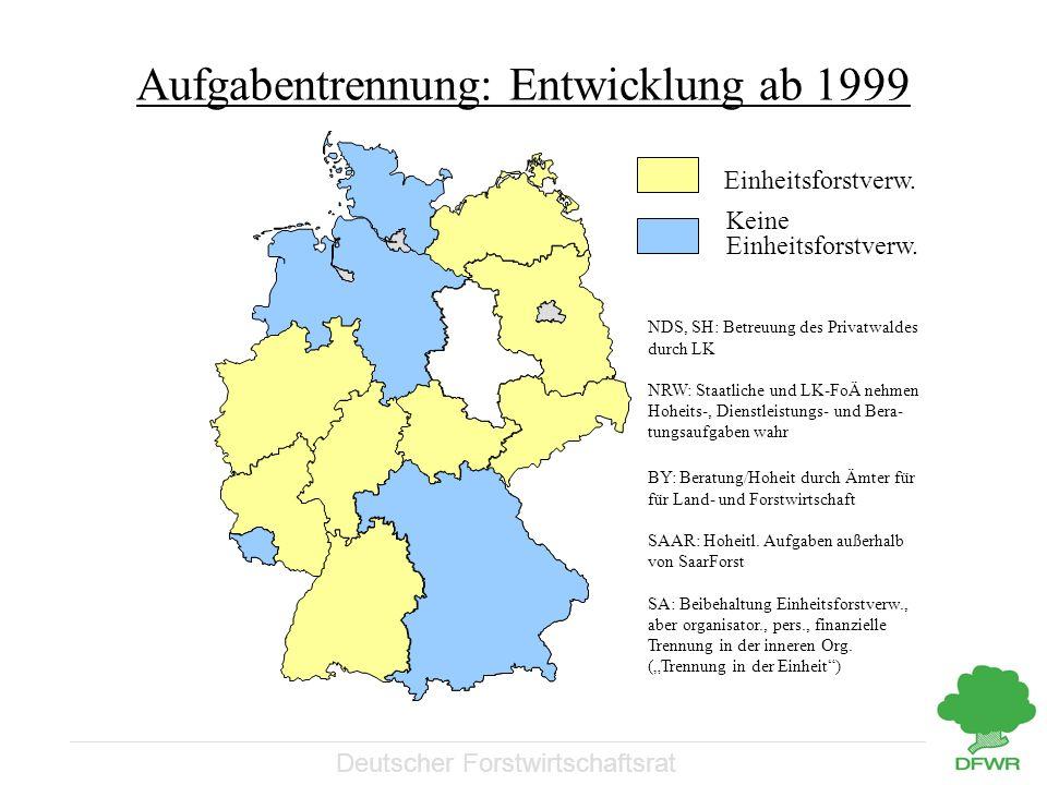 Deutscher Forstwirtschaftsrat Aufgabentrennung: Entwicklung ab 1999 NDS, SH: Betreuung des Privatwaldes durch LK NRW: Staatliche und LK-FoÄ nehmen Hoh