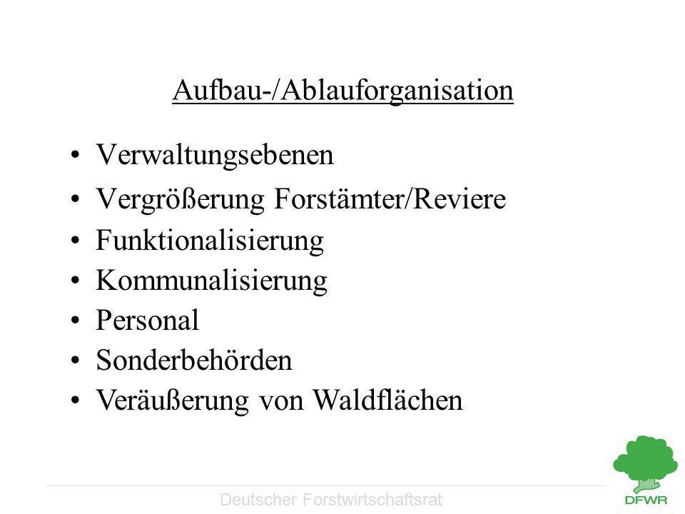 Deutscher Forstwirtschaftsrat Aufbau-/Ablauforganisation Verwaltungsebenen Vergrößerung Forstämter/Reviere Funktionalisierung Kommunalisierung Persona