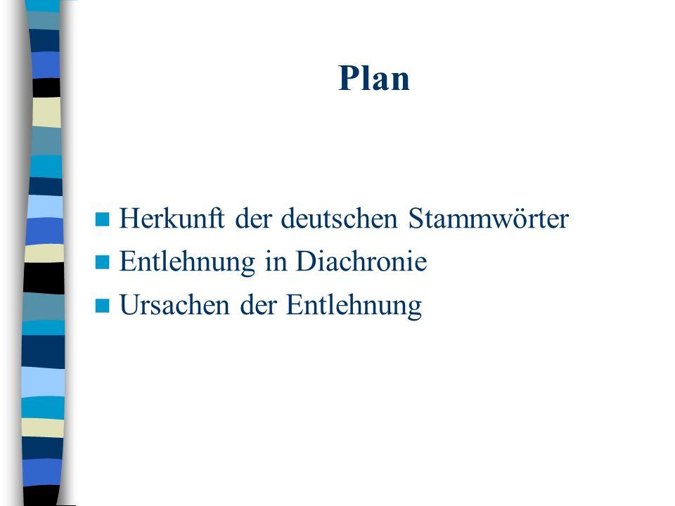 Plan Herkunft der deutschen Stammwörter Entlehnung in Diachronie Ursachen der Entlehnung