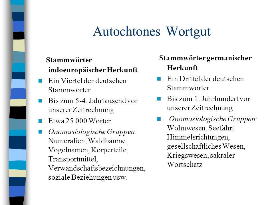Autochtones Wortgut Stammwörter indoeuropäischer Herkunft Ein Viertel der deutschen Stammwörter Bis zum 5-4.