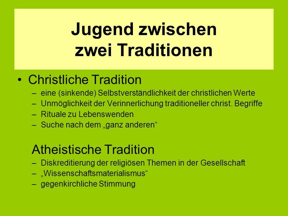 Jugend zwischen zwei Traditionen Christliche Tradition –eine (sinkende) Selbstverständlichkeit der christlichen Werte –Unmöglichkeit der Verinnerlichung traditioneller christ.