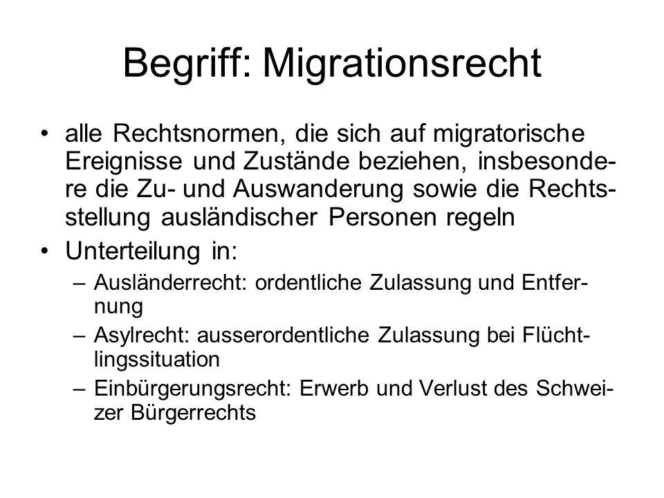 Begriff: Migrationsrecht alle Rechtsnormen, die sich auf migratorische Ereignisse und Zustände beziehen, insbesonde- re die Zu- und Auswanderung sowie die Rechts- stellung ausländischer Personen regeln Unterteilung in: –Ausländerrecht: ordentliche Zulassung und Entfer- nung –Asylrecht: ausserordentliche Zulassung bei Flücht- lingssituation –Einbürgerungsrecht: Erwerb und Verlust des Schwei- zer Bürgerrechts