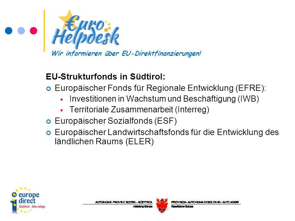 EU-Strukturfonds in Südtirol: Europäischer Fonds für Regionale Entwicklung (EFRE):  Investitionen in Wachstum und Beschäftigung (IWB)  Territoriale Zusammenarbeit (Interreg) Europäischer Sozialfonds (ESF) Europäischer Landwirtschaftsfonds für die Entwicklung des ländlichen Raums (ELER) Wir informieren über EU-Direktfinanzierungen!